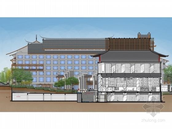 [张家界]知名国际假日酒店超五星級大堂装修设计方案剖立面图