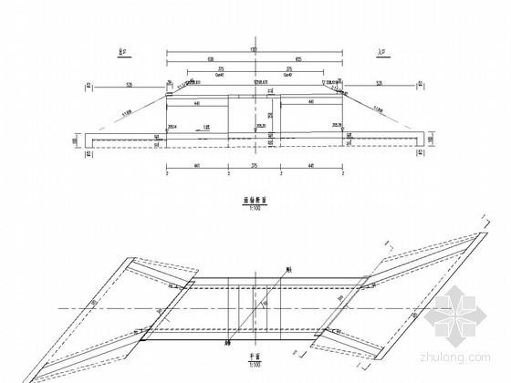 1-3米钢筋混凝土盖板涵布置图(斜交40度)
