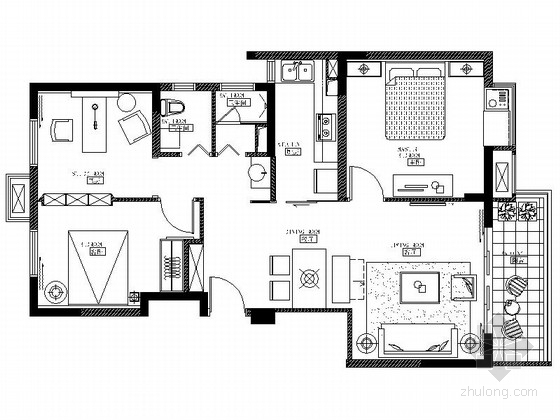 [江苏]现代欧式风格三室两厅样板间装修施工图(含效果)
