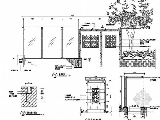 小区地下室入口处玻璃顶棚施工图