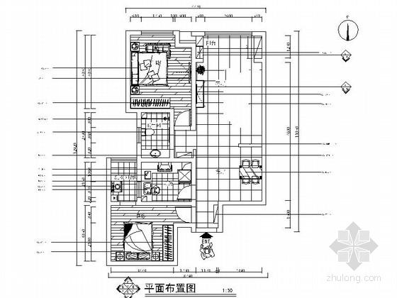 [北京]中式风情三居室室内CAD装修施工图(含效果图)
