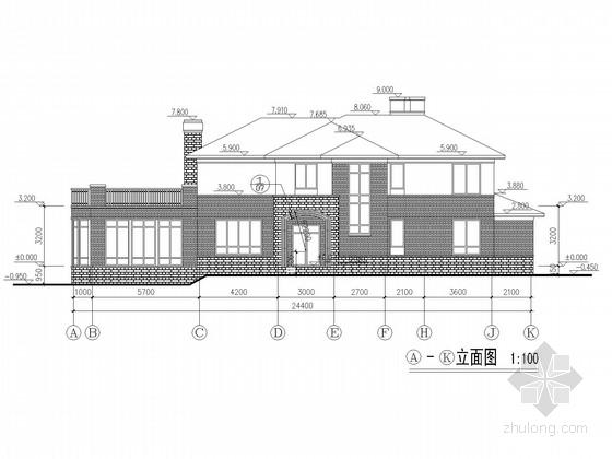 两层坡屋顶砌体别墅结构施工图(建筑)