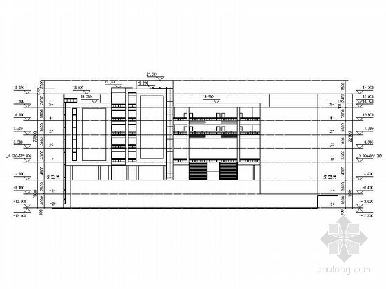 5层现代风格小学教学楼建筑立面图
