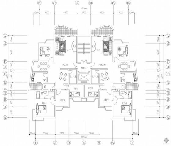 板式高层一梯二户户型图(142/142)