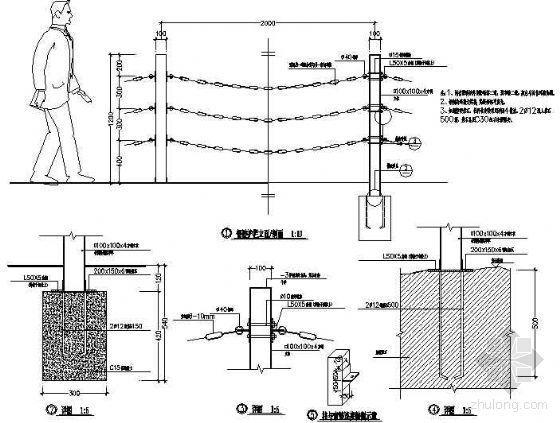 钢链护栏详图-4