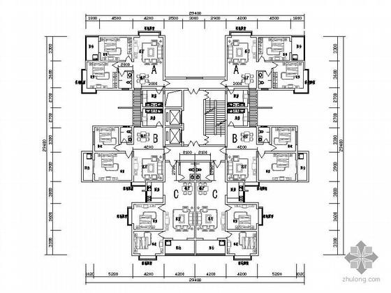 塔式高层一梯六户型图(98/99/103)