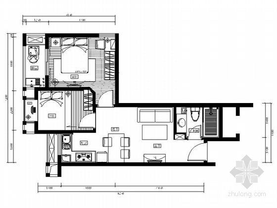 [福州]现代风格两居室样板房设计装修图(含效果)