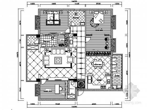 140㎡三室两厅雅致样板房装修图(含效果)
