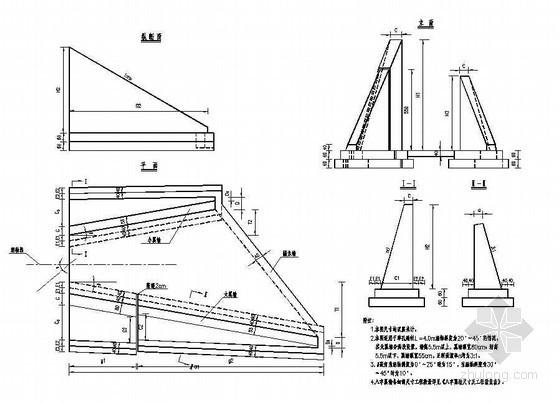 高填土石拱涵八字翼墙一般布置节点详图设计