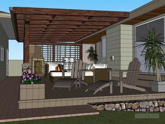 户外客厅sketchup模型