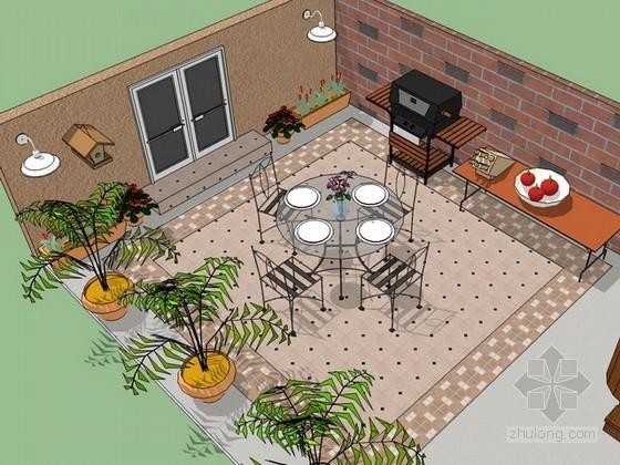 屋顶露台sketchup模型
