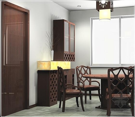 典雅中式二层别墅室内装修施工图(含效果图)效果图