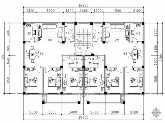 板式多层一梯二户二室一厅二卫户型图(125/125)