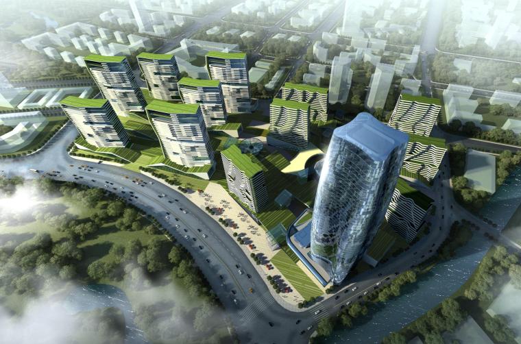 [上海]嘉定绿地双地块商住办综合体设计方案文本(PDF)