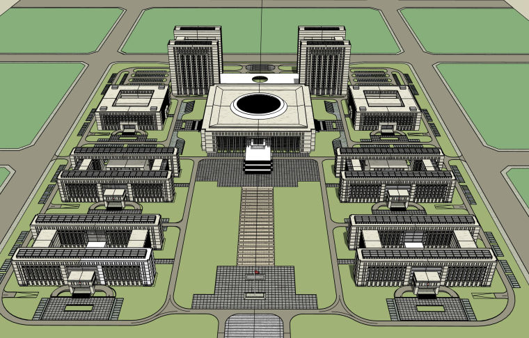 某行政区规划方案建筑模型设计