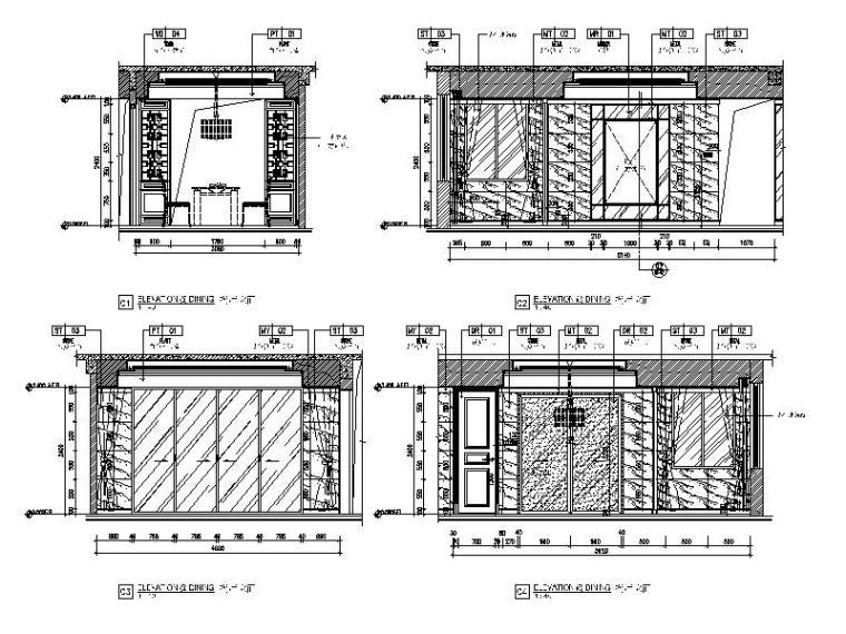 [广东]中式风格样板房设计CAD施工图(含效果图)-【广东】中式风格样板房设计CAD施工图(含效果图)立面图