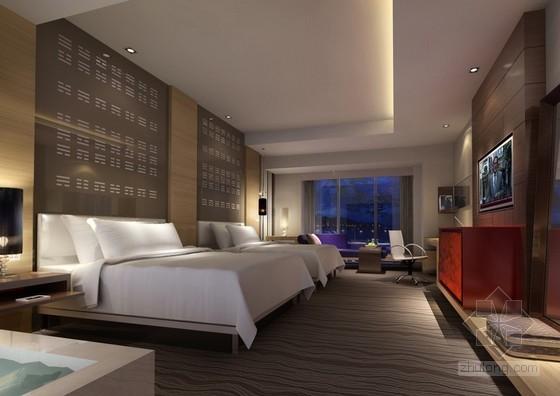 酒店客房样板房与走道电梯电气施工图纸(含效果图)