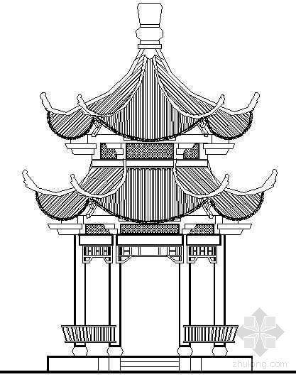 六角重檐古建亭详图