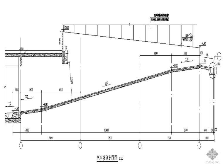 [深圳]某局物流示范基地工程运作楼-汽车坡道剖面图节点详图