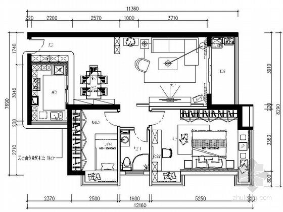[深圳]时尚简约2室2厅家装CAD施工图