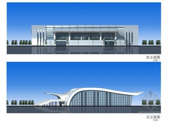 [湖北]市级体育场项目设计方案文本(知名设计院)-市级体育场项目设计方案立面图