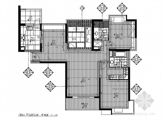 [上海]精装现代风格两居室装修施工图
