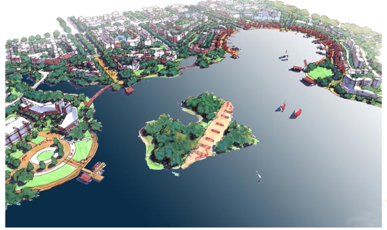 [山东]滞洪区景观概念性规划文本(知名设计公司)-鸟瞰图