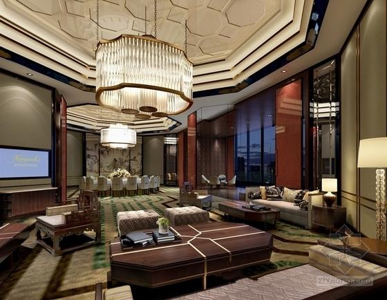 [福建]豪华五星级现代酒店室内设计成果汇报方案中餐大包房效果图