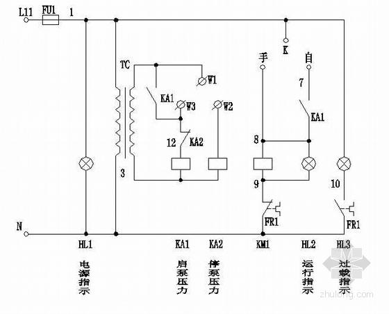 消防稳压泵单控直接起动原理图
