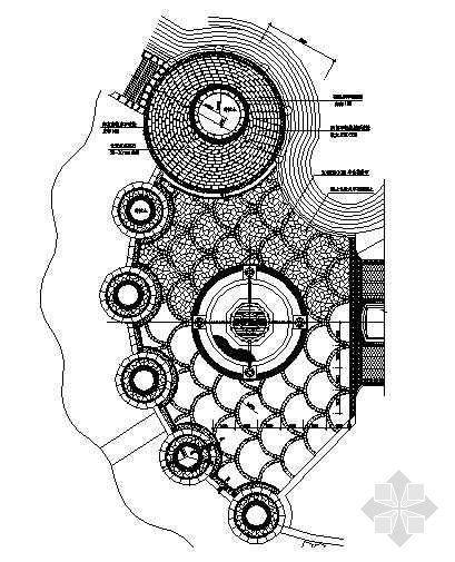 喷泉广场铺装平面图