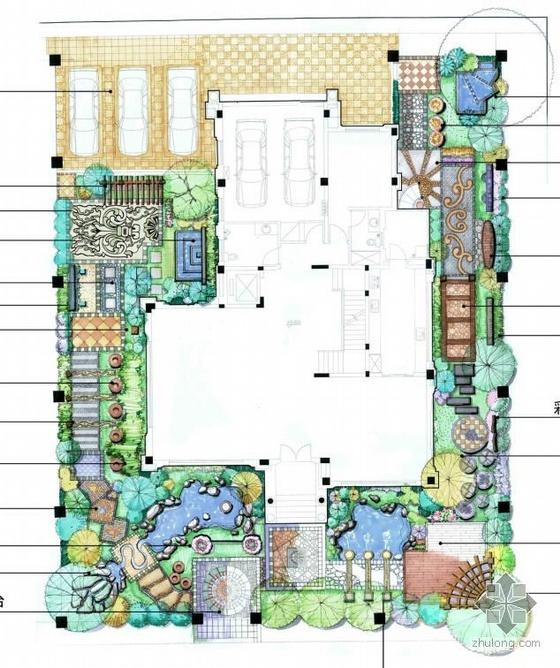 欧式别墅景观设计两套方案总平