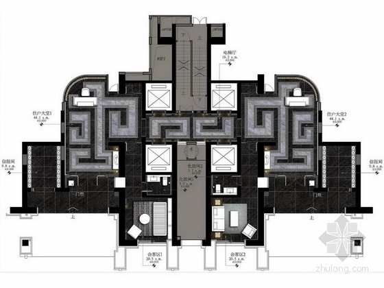 [福州]花园洋房现代高档住宅大堂方案图