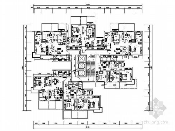 高层住宅一梯六带入户花园户型图(74、88、113平方米)