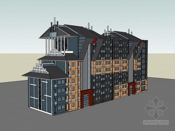 民族地区党校学生公寓sketchup模型下载