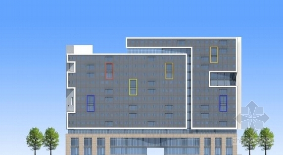 [江苏]多彩外廊开窗式老年公寓建筑设计方案文本(含CAD)-多彩外廊开窗式老年公寓建筑立面图