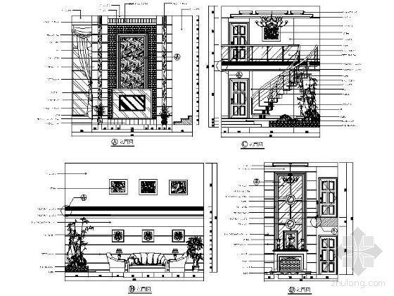西式别墅客厅立面图