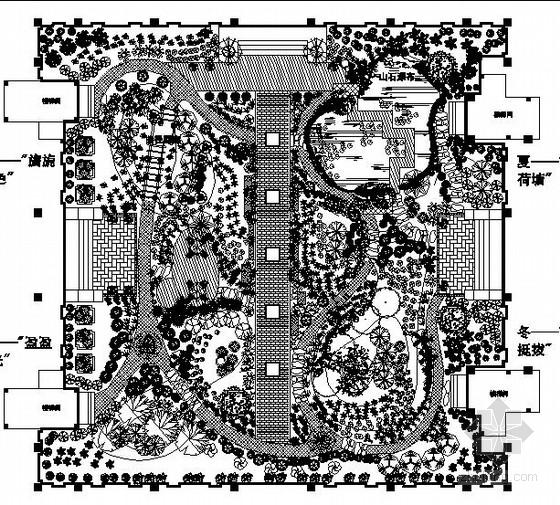 住宅小区组团花园园林景观工程施工图