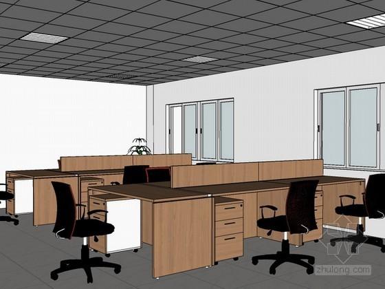 办公室室内场景sketchup模型下载