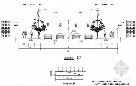 [浙江]25m宽市政道路施工图150页(含管线绿化照明交通)