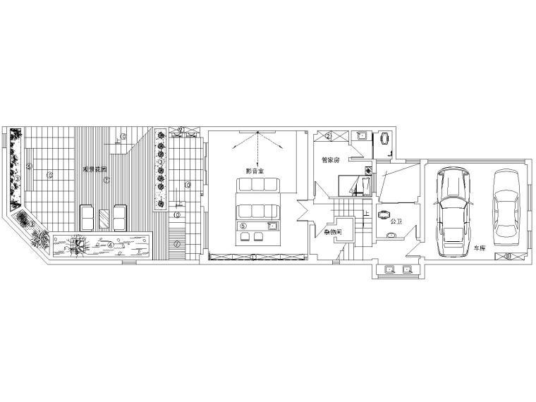 某中式风格联排别墅室内装修设计施工图及效果图