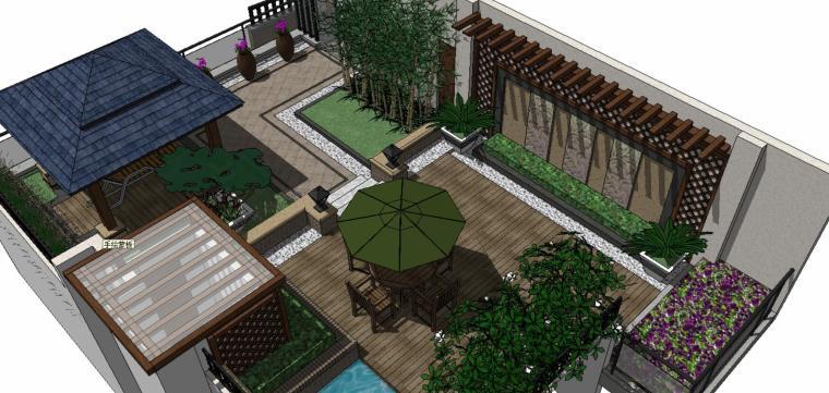 精致庭院景观su设计模型