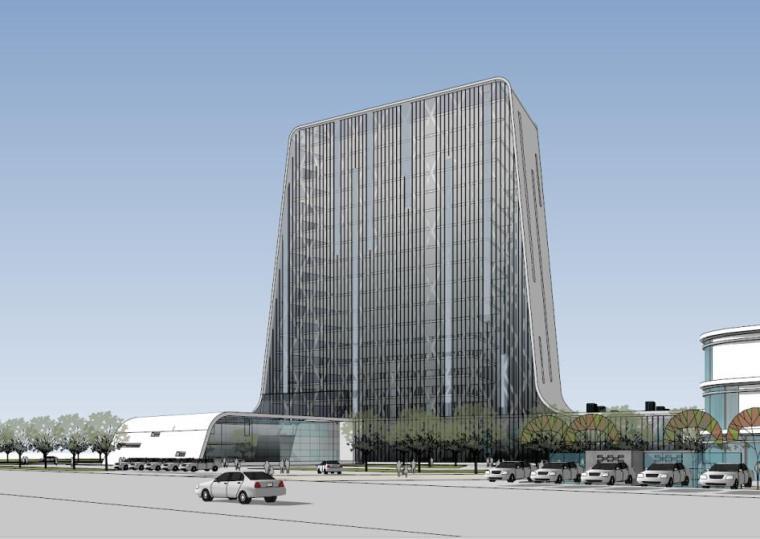流线型高层板楼+商业广场+合院小办公模型设计