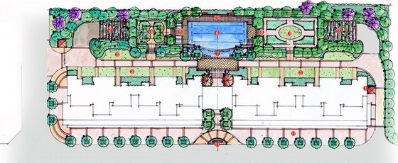 [福建]欧式Tudro风格住宅小区景观设计方案(知名设计所)-分区平面图
