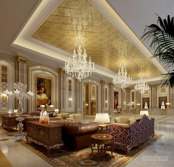 [天津]渤海之巅度假旅游区铂金超五星级酒店设计方案团体接待门厅效果图