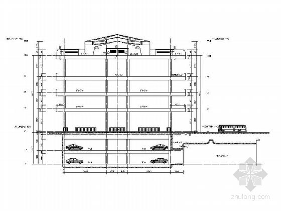 [福建]四层现代风格地铁站配套用房建筑施工图(2015年图纸知名设计院)-四层现代风格地铁站配套用房剖面图