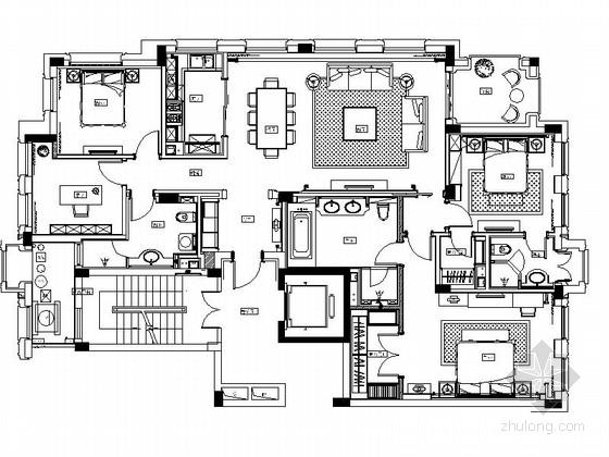 [杭州]奢华欧式风格四室两厅室内装修施工图(含实景)