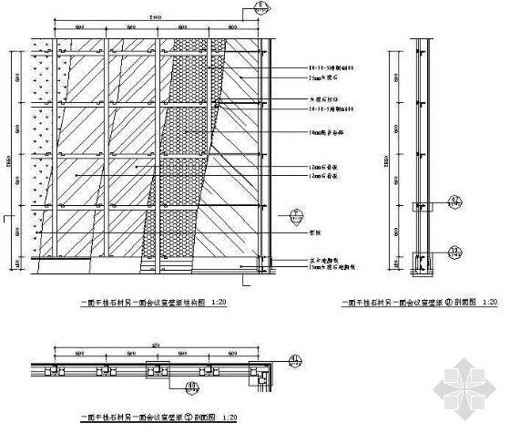 双面石材墙体湿挂结构图