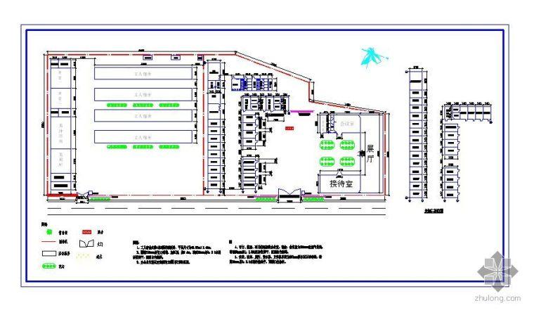 长沙某工程办公及生活区平面布置图
