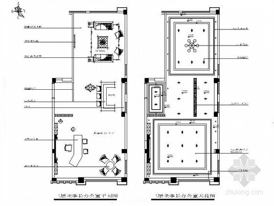 精装董事长办公室CAD室内装修图