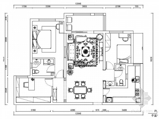 [上海]风景优美温馨田园欧式三居室CAD装修施工图(含高清实景图)